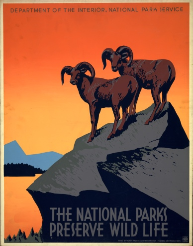 The National Parks Preserve Wild Life, 1939.  Artist: J. Hirt.