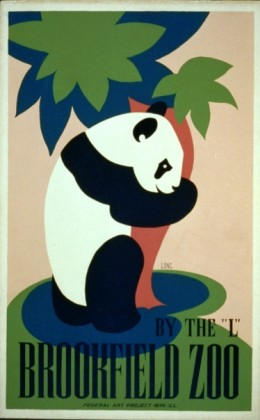 """Brookfield Zoo--By the """"L"""", 1938.  Artist: Frank W. Long."""