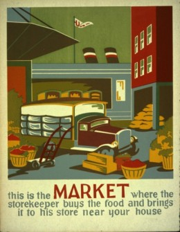 This is the Market,  1936 or 1937.  Artist: Unknown.