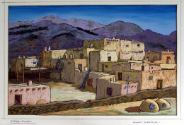 This painting of the Taos Pueblo was done by  Helmut Naumer, Sr.