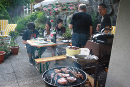 grilling meat, chicken and barbecue for dinner in the garden