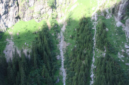 view from the Trift cable car, Gadmen, Switzerland - waterfalls
