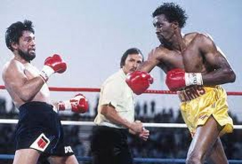 Tommy Hearns knocking out Roberto Duran in two rounds. The Hitman had concussive power in both of his fists especially his hammering right hand.