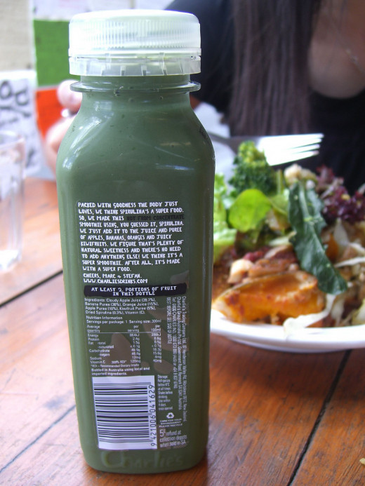 Food producers are commonly using spirulina in their products due to the media hype. This is a bottled smoothie containing spirulina that is available in cafes, restaurants, convenience stores, grocery stores etc.