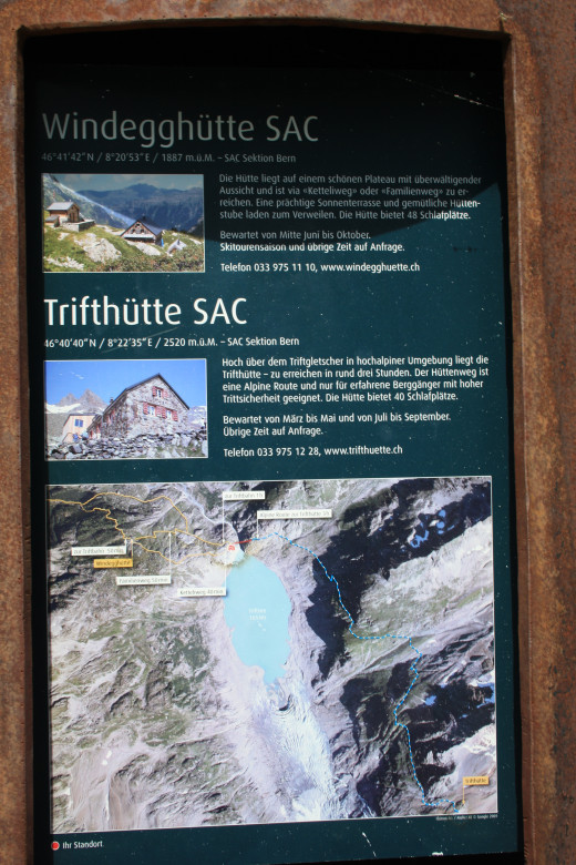 The Trift hanging bridge, Switzerland fot of info stand