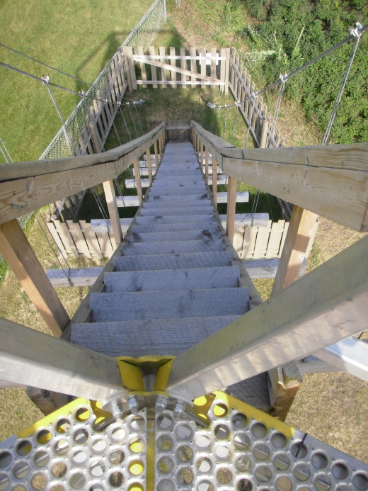 Specially engineered suspended staircase to access Flying Fox Tower.  Because of close proximity to the Trans Canada Highway, the license stipulated that the tower be free-standing, with no attachments that might cause tipping in high winds.
