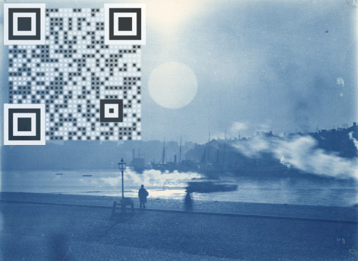 Although this QR code is black and white its placement in this piece tends to make it appear black and light blue.  The tendency of the eye to blend adjacent pixels was explored in depth by Georges Seurat.  This technique is called pointillism.