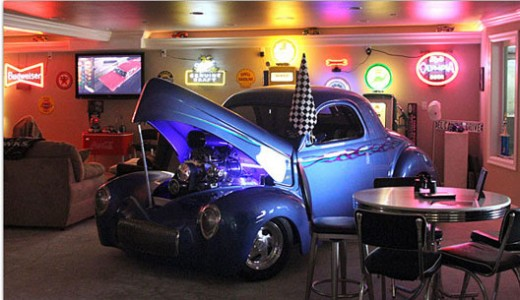 A man cave is reserved for hobbies and other leisurely activities such as working on cars, watching television and drinking beer.