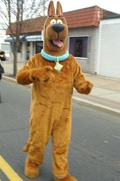 Person dressed in an unauthorized costume of Scooby Doo