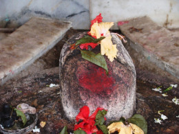 The Shiva Lingam with the cut visible on top