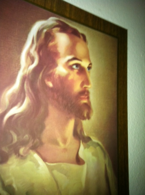 I think this picture is a bit too light, I figure Jesus spent a lot of time walking and preaching around in the sun. And he was from the Middle East. But maybe the classical picture is for those who need him most.