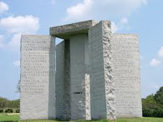 There are ten commandments that are not the commandments of  the Bible engraved in this stone structure. The #1 commandment states to reduce the population to 500,000,000.