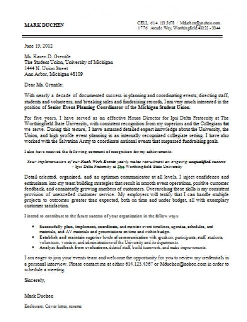 Conference Coordinator Cover Letter Sample