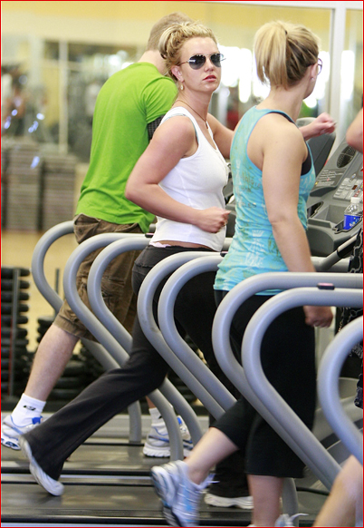 Britney Spears working out in her gym.