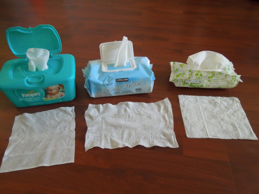 Baby Wipes: Pampers baby wipe, Kirkland baby wipe and  Huggies baby wipe