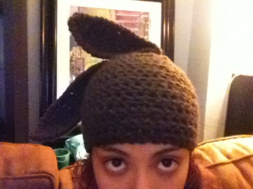 Sorry for the crappy image quality.  I made this bunny hat by crocheting a basic beanie then just added ears.