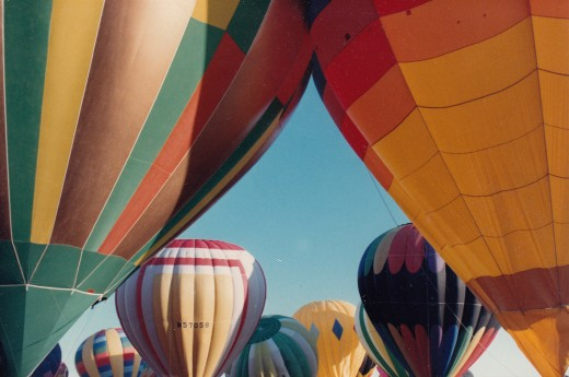 This colorful display of balloons ready for a mass ascension at the Albuquerque, New Mexico International Balloon Fiesta was photographed by the author.