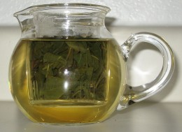 Pot of loose leaf oolong tea