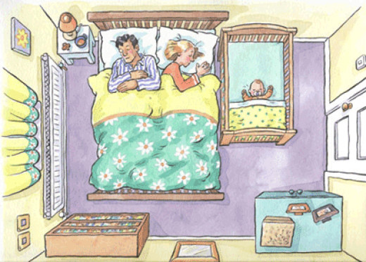 A recommended sleep environment for a baby up to six months old. How many changes did you spot?