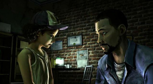 Lee and Clementine in The Walking Dead Episode 1