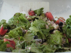 Delicious salad with Romaine lettuce, blueberries and tuna.
