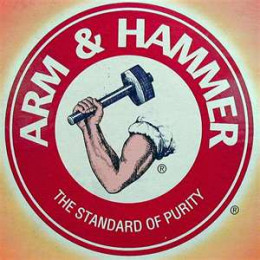 One of the most famous logos of out times, Arm and Hammer remains a constant in American homes.