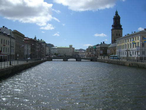 Canal and German church, Gothenburg, Sweden