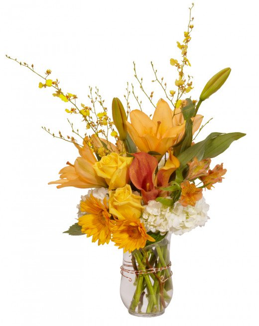 Simple, lovely arrangement, mostly one color, plays with different textures and flower sizes.