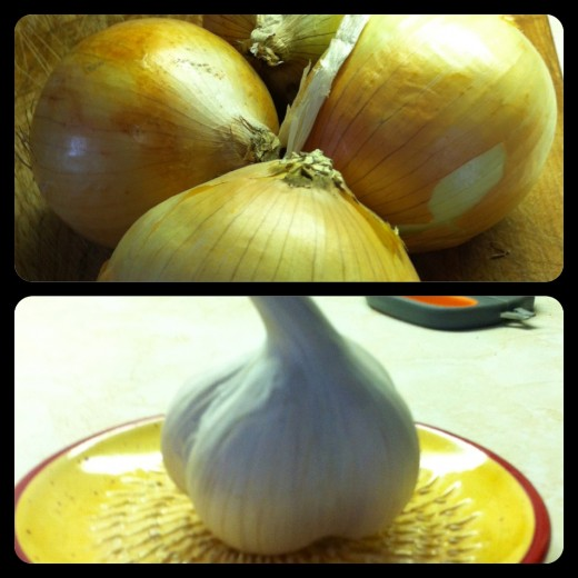 Sweet Onions & Garlic for Baked Onions