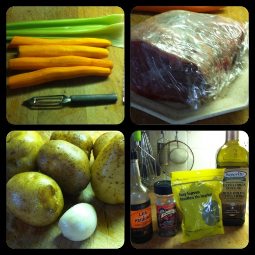 Beef Pot Roast ingredients. Carrots & celery, beef, potatoes & garlic, Worcestershire sauce, Montreal steak spice,  Bay leaf, and olive oil