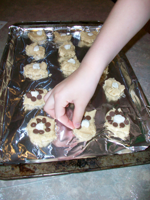 Make your own silly recipes together. These turned out to be Chocolate-Drizzled Chocolate Chip-Marshmallow Cookies.
