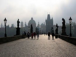 Charles Bridge with Watchtower and Statues of the Saints