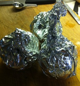 Wrap each onion in tin foil.