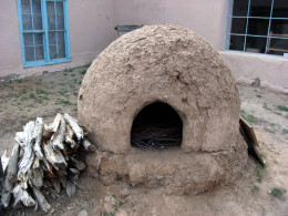 Outdoor ovens can be made from adobe mud and straw