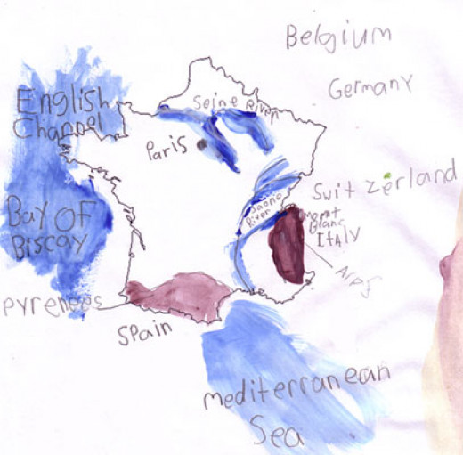 Keep the details simple with younger kids like on this map of France