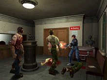 Leon taking out Zombies in Resident Evil 2