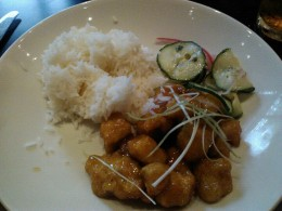 Crispy Honey Chicken served with rice and vinegar cucumbers were delicious!