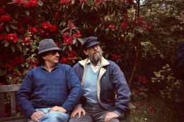 We swopped hats! Pete and I wearing each other's hats in the grounds of Hatfield House, England, in 1993