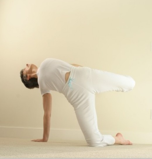 Balancing on the arms increases the strengthening, as the pose is very dynamic with constant small adjustments to keep balanced and move deeper into the stretch with each exhalation.