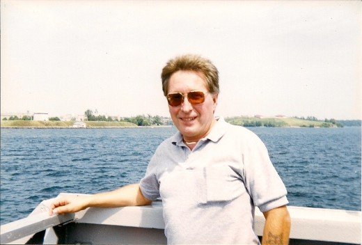 My youthful fifties, crossing the Saint Lawrence River heading into downtown Kingston, Ontario, Canada