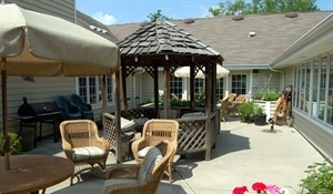 The courtyard area at Senior Care Services at Clare Bridge, Brookfield.