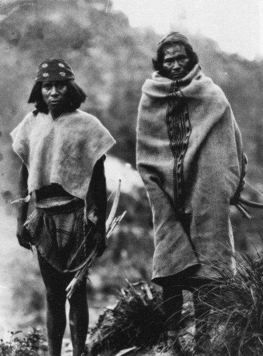 Two Tarahumara men in traditional clothing.