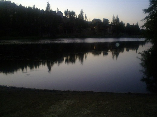 The reflection of the trees on Grass Valley Lake.