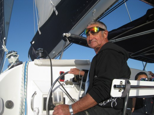 Nev has worked on boats so he was keen to take over for a while !