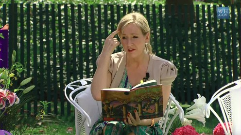Author J.K. Rowling, in 2010, reads from Harry Potter and the Sorcerer's Stone at the Easter Egg Roll at White House.