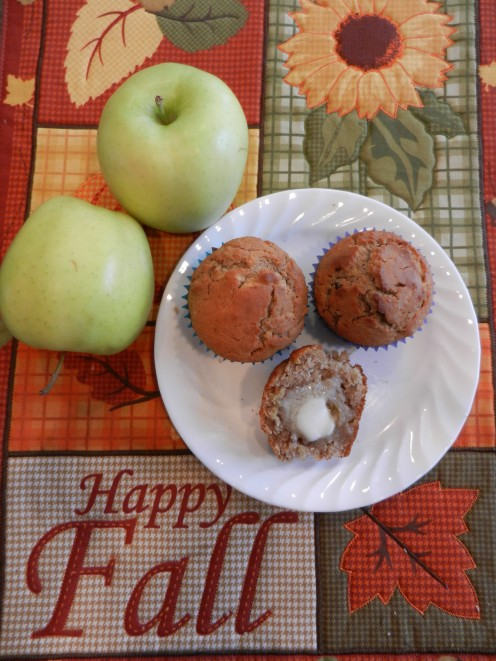 Warm apple muffins with a pat of butter!