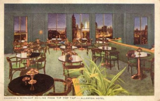 Vintage 1942 Postcard of a nighttime view from the Tip-Top Tap.