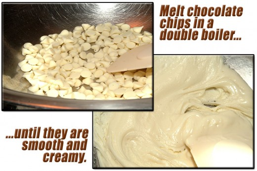"Melt chocolate chips until they ""just"" start to melt. Stir frequently. Don't over heat  or get water in the melting chips or they will seize up."