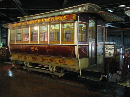 This photograph of Sutter Street Railway Co. Trailer Car Number 54 was taken on February 24, 2008 by Fietsbel  in the Cable Car Museum.