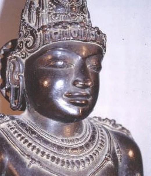 Statue of Rajaraja Chola on display at Brihadisvara Temple at Thanjavur located in Tamil Nadu.
